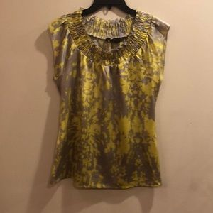 The Limited abstract print cap sleeve popover top